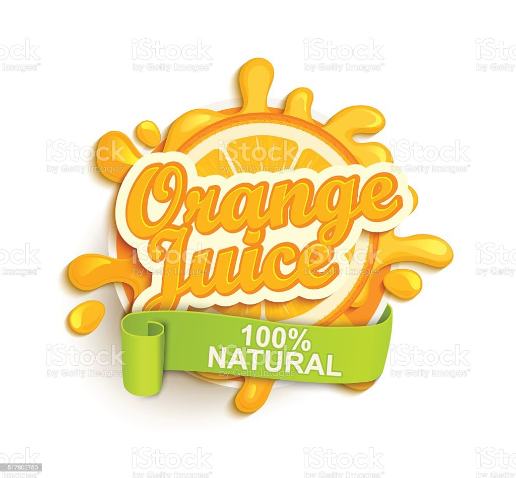 Orange juice natural label splash. vector art illustration