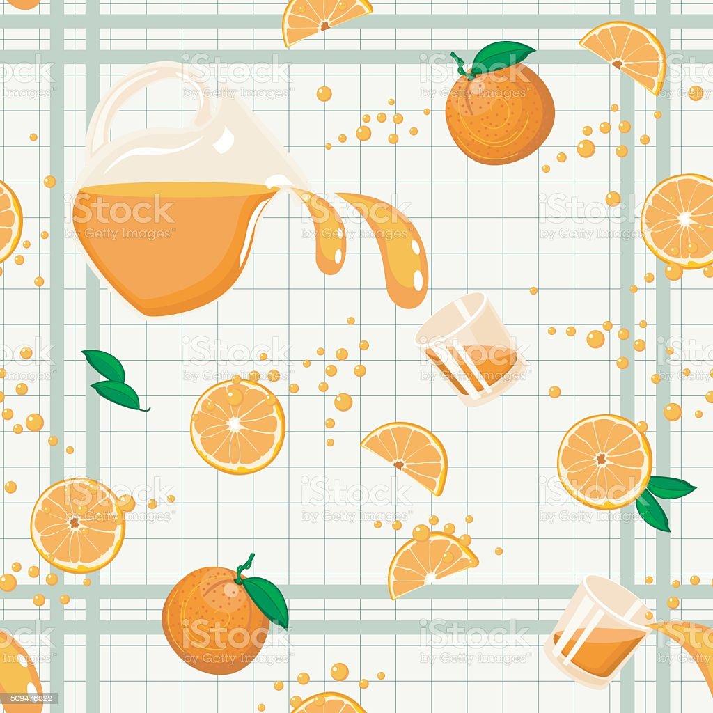 Orange Juice Seamless Pattern vector art illustration