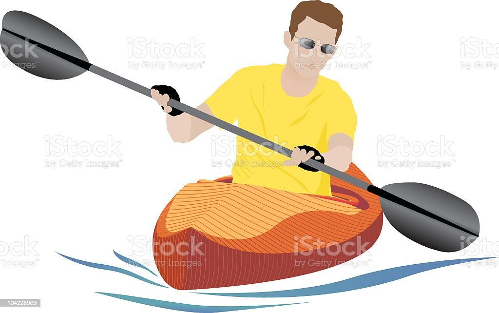 Orange Kayak vector art illustration