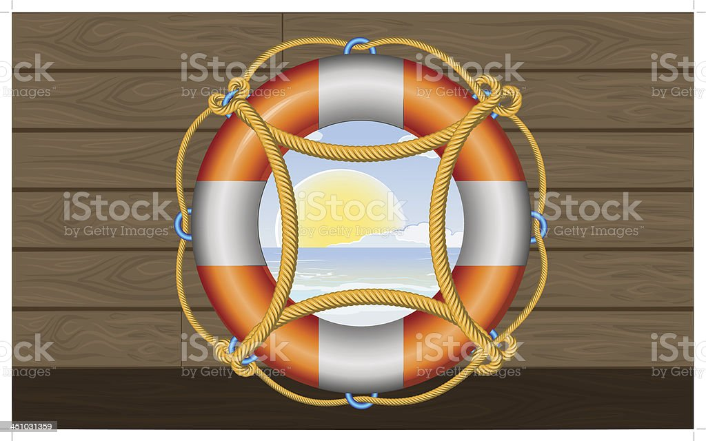 orange lifebuoy with stripes and rope on the deck vector art illustration