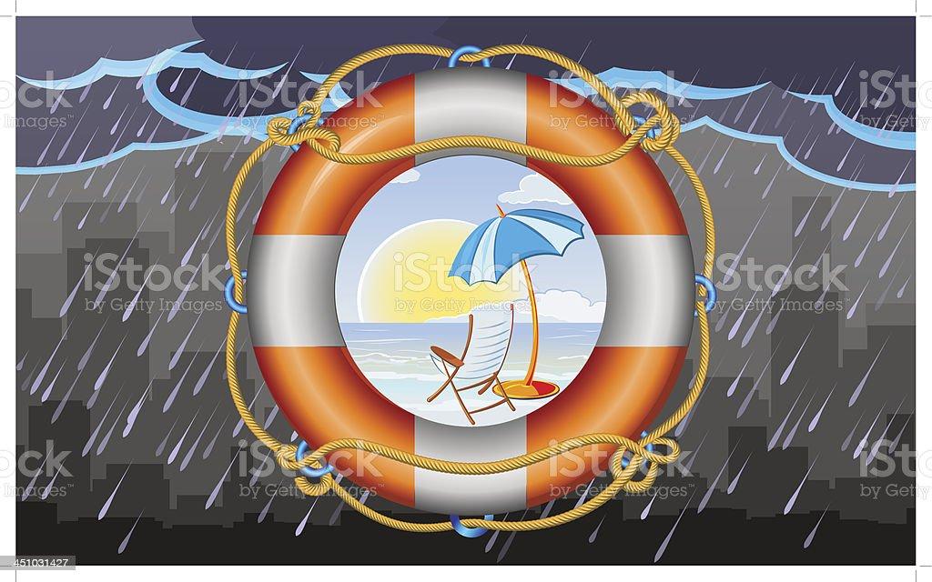orange lifebuoy with stripes and rope vector art illustration