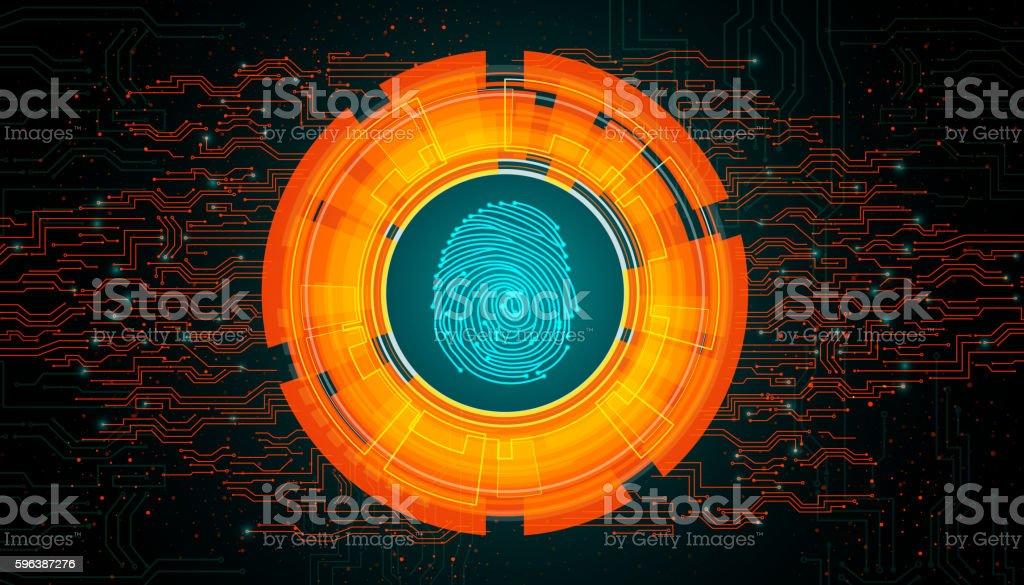 Orange light abstract technology background for concept fingerprint scanning vector art illustration