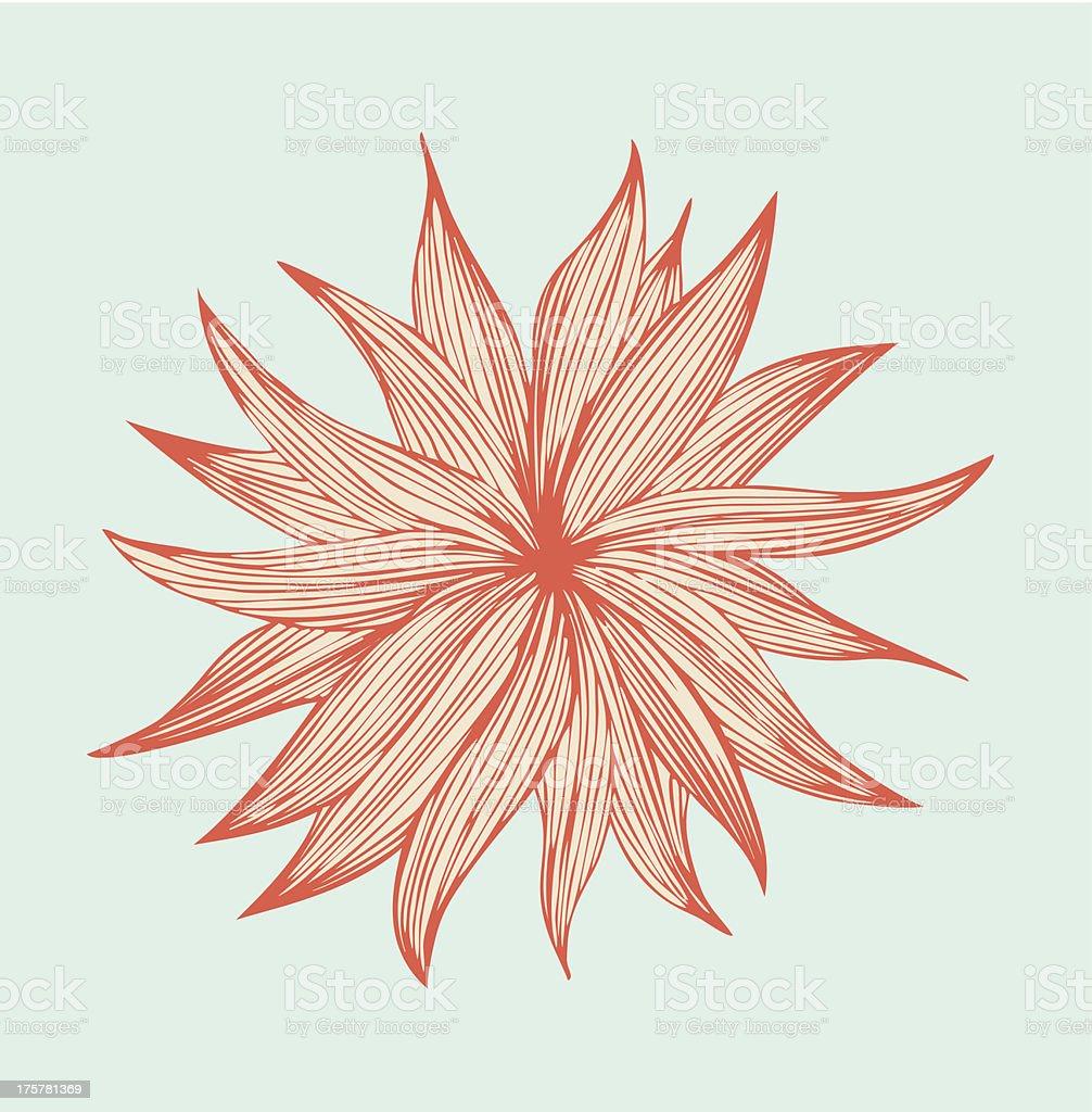 Orange linear isolated flower royalty-free stock vector art