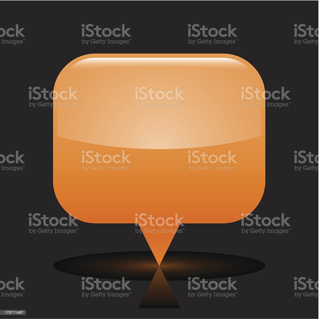 Orange map pin sign glossy icon rectangle pictogram black background royalty-free stock vector art