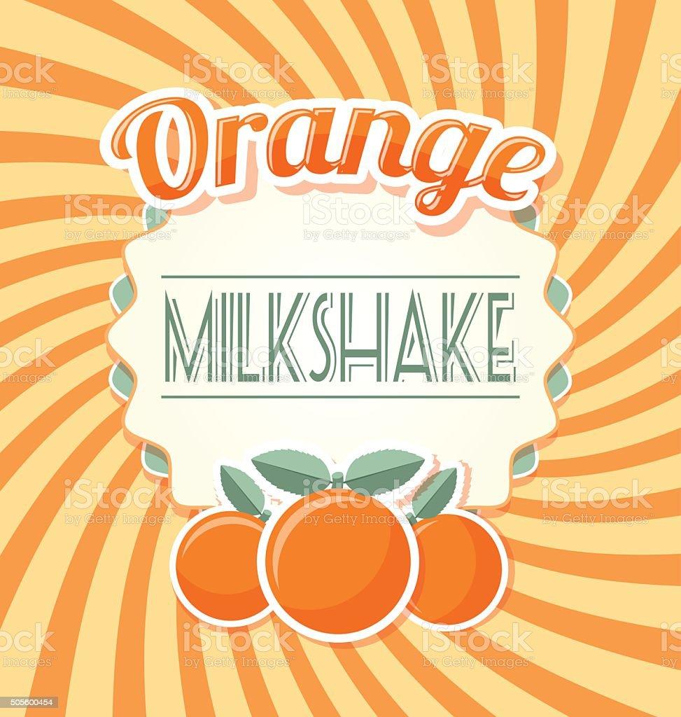 Orange milkshake label vector art illustration