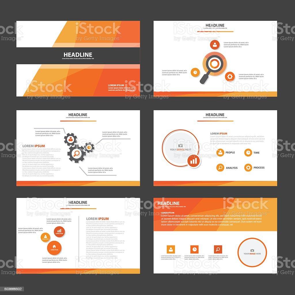 オレンジの多目的プレゼンテーションテンプレート、パンフレットデザインセットフラット ベクターアートイラスト