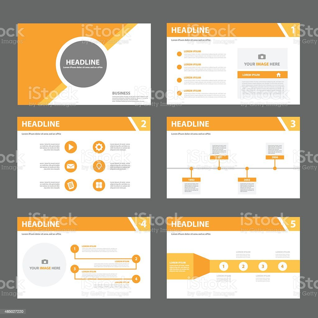Orange Multipurpose presentation Templates flat design set vector art illustration