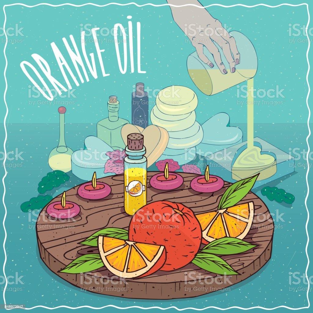 Orange oil used for soap making vector art illustration