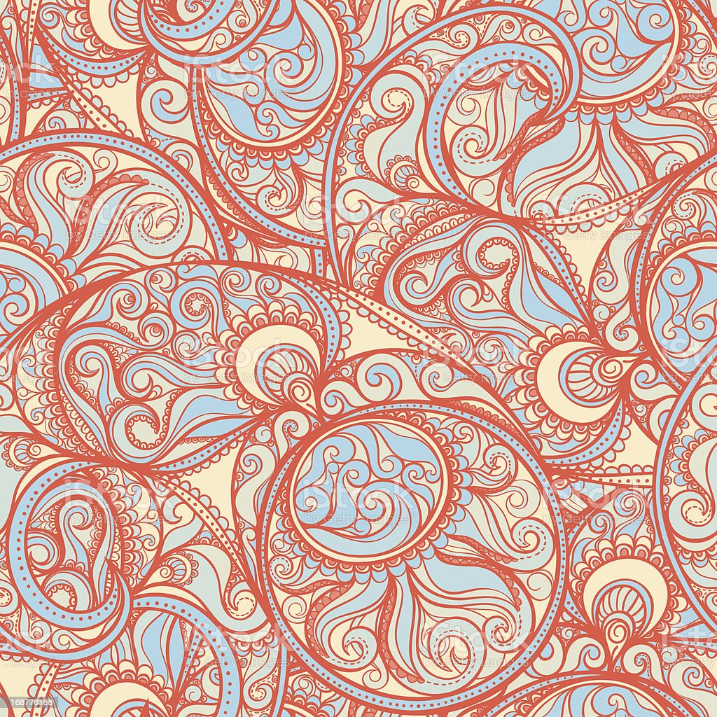orange paisley pattern royalty-free stock vector art