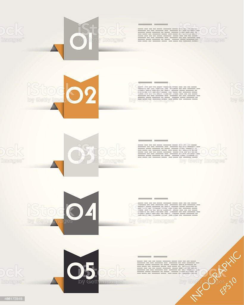 orange paper origami ribbons royalty-free stock vector art