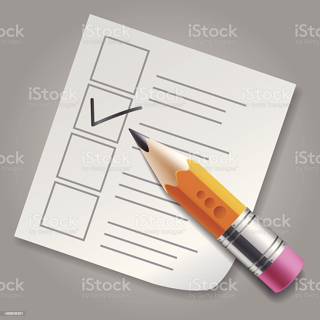 Orange pencil and checklist vector art illustration