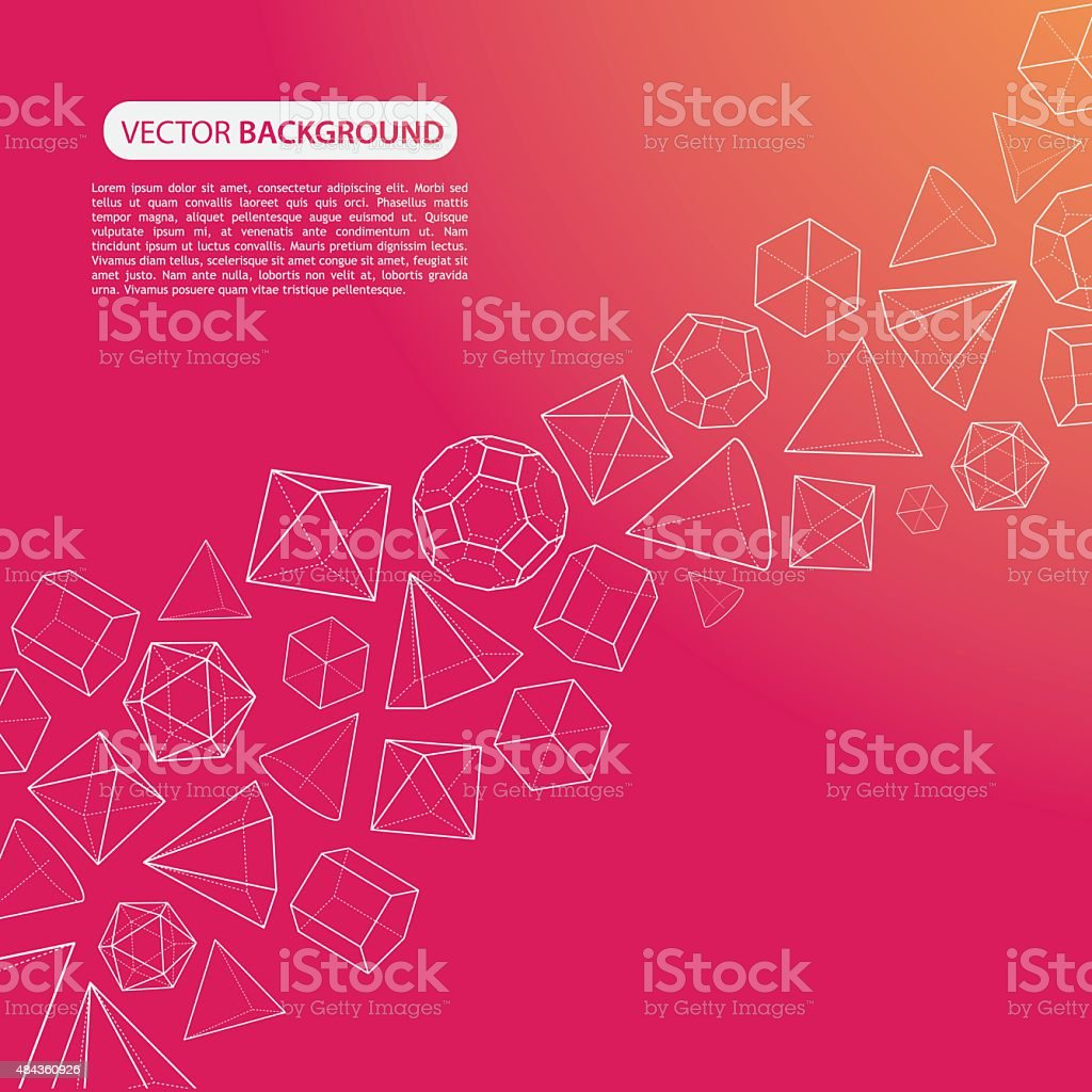 Orange pink platonic solids flow background vector art illustration