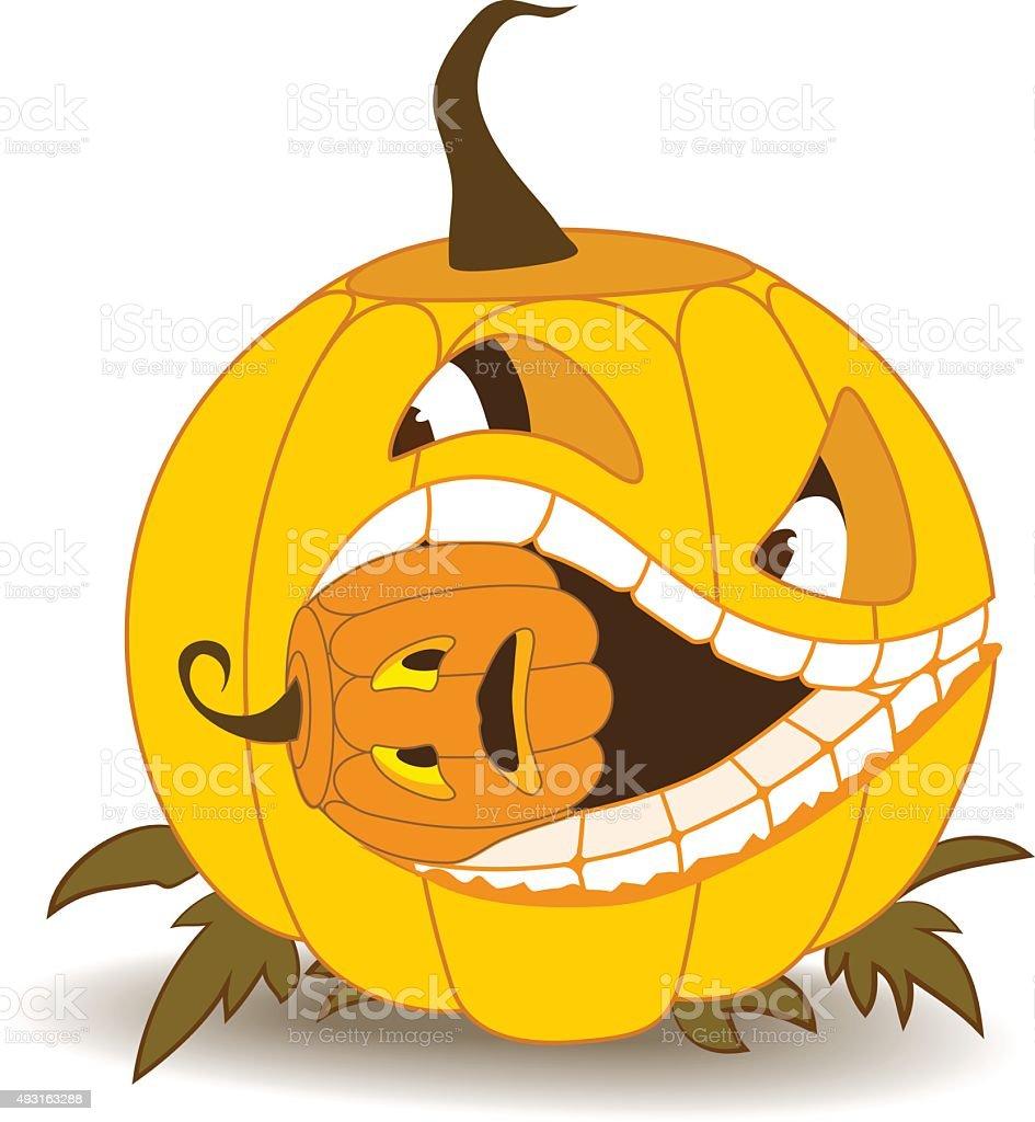 Orange pumpkin with squint, eating a small pumpkin vector art illustration