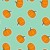 Orange pumpkins vector pattern