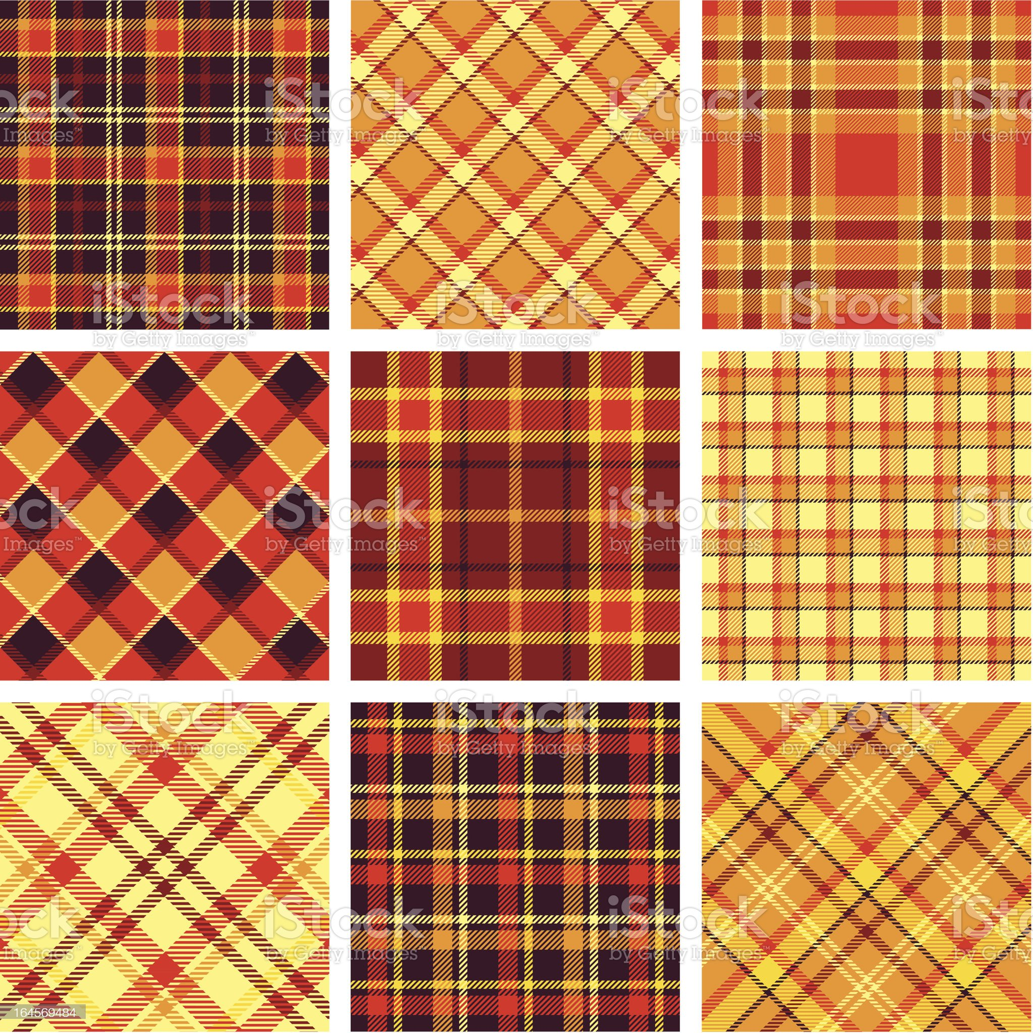 Orange, red, yellow and black plaid patterns royalty-free stock vector art