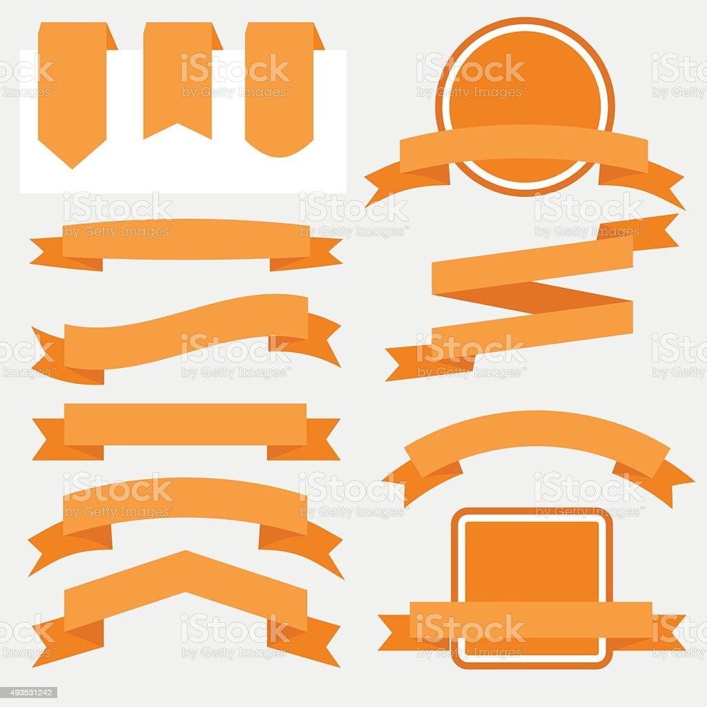 Orange Ribbons Set isolated On White Background. Vector Illustration vector art illustration