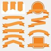 Orange Ribbons Set isolated On White Background. Vector Illustration