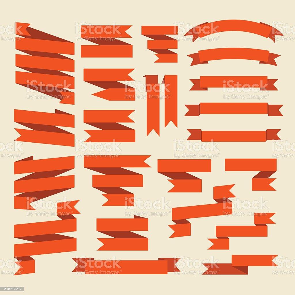 Orange ribbons set isolated on white background.Vector.Banner we vector art illustration