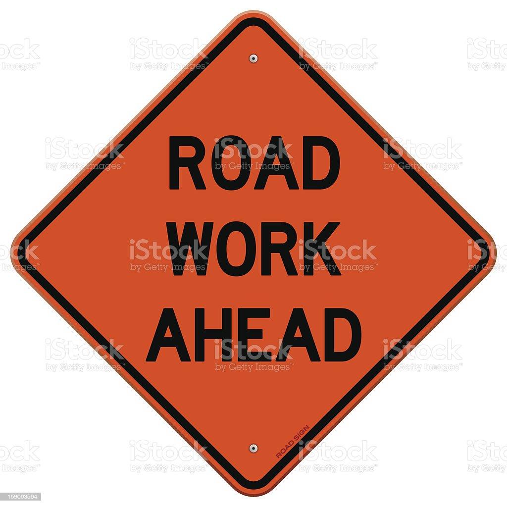 Orange road work ahead sign isolated on white background vector art illustration