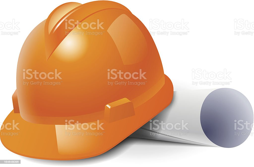 Orange safety hard hat and drawings. royalty-free stock vector art