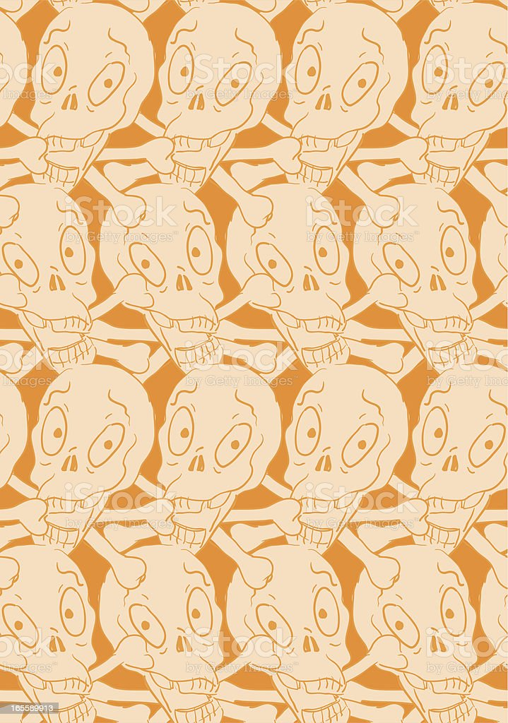Orange Scribble Skulls Seamless Pattern - Halloween royalty-free stock vector art