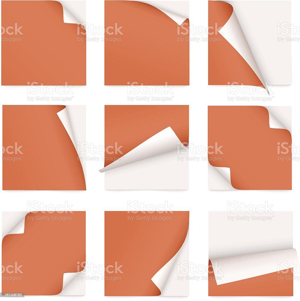 orange set of note paper with curled corner vector art illustration