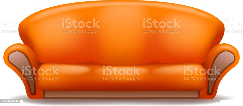 orange sofa vector art illustration