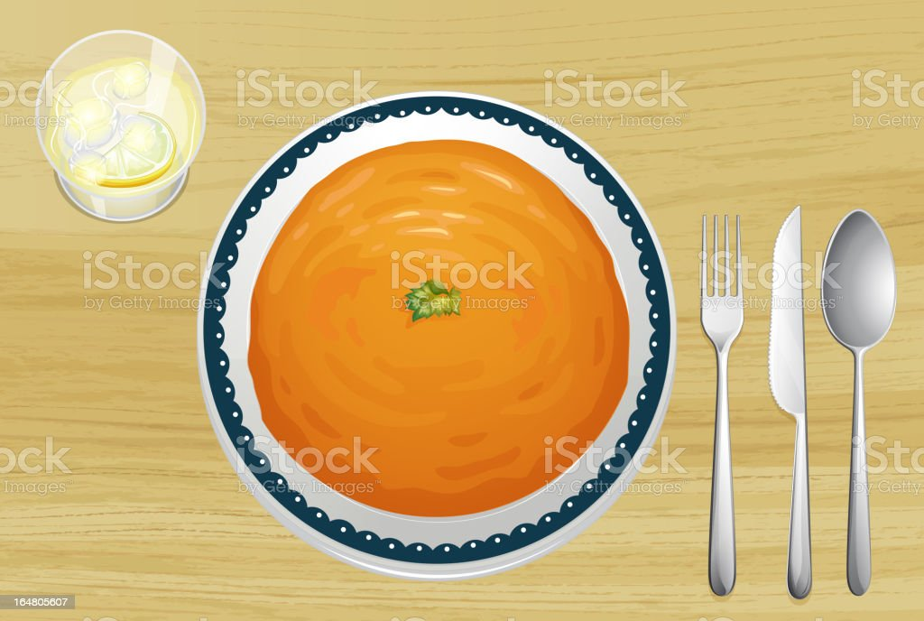 Orange soup on a plate royalty-free stock vector art
