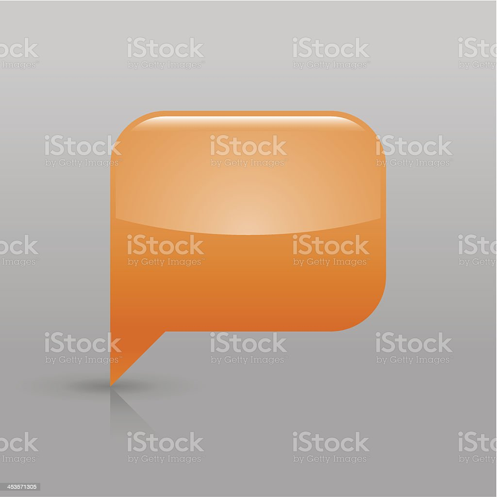Orange speech bubble sign glossy icon empty rectangle pictogram royalty-free stock vector art