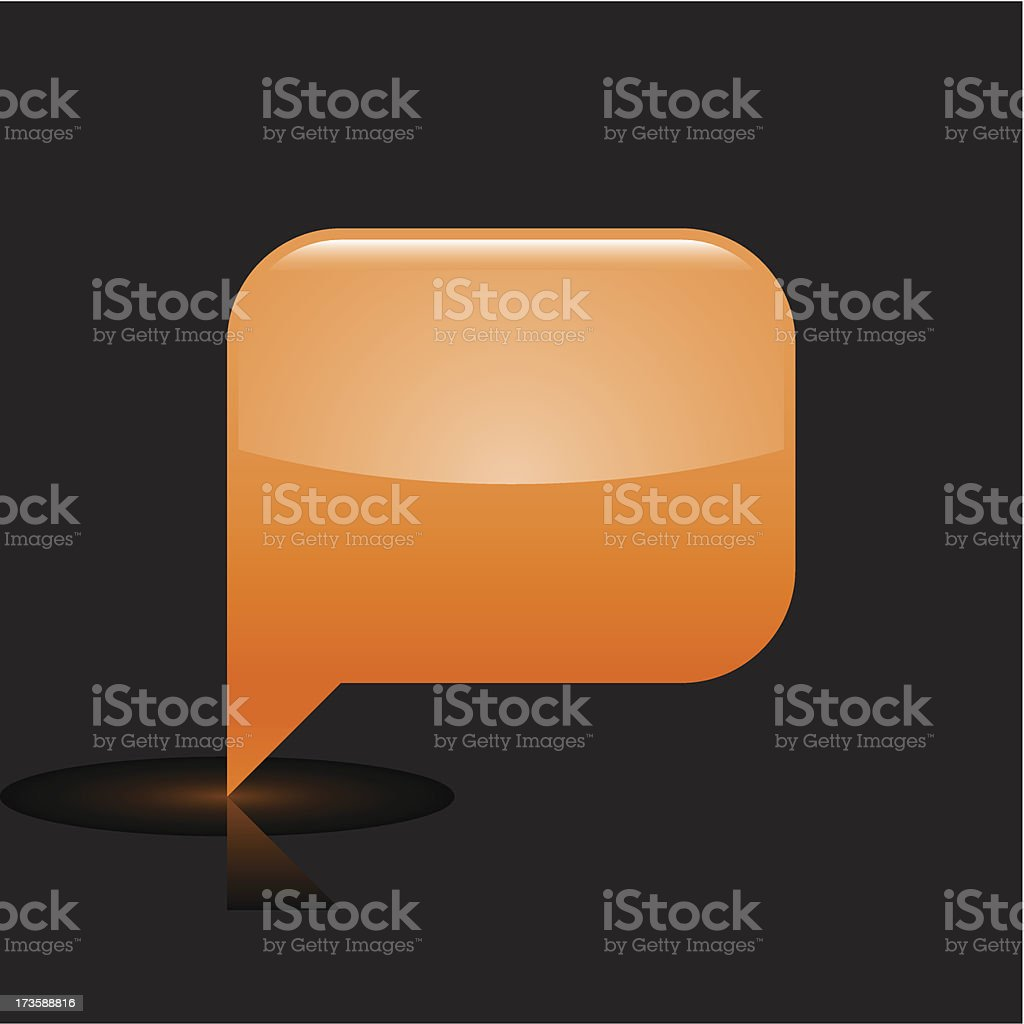 Orange speech bubble sign glossy icon rectangle pictogram web button royalty-free stock vector art