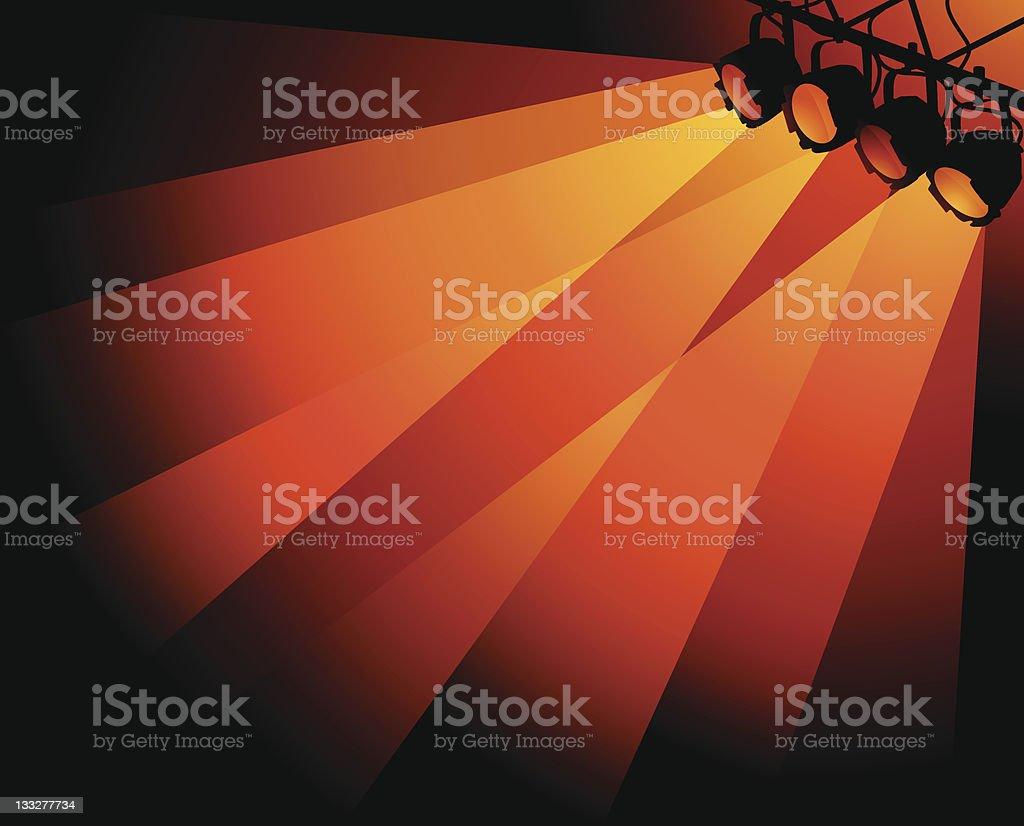 Orange Stage Lights vector art illustration