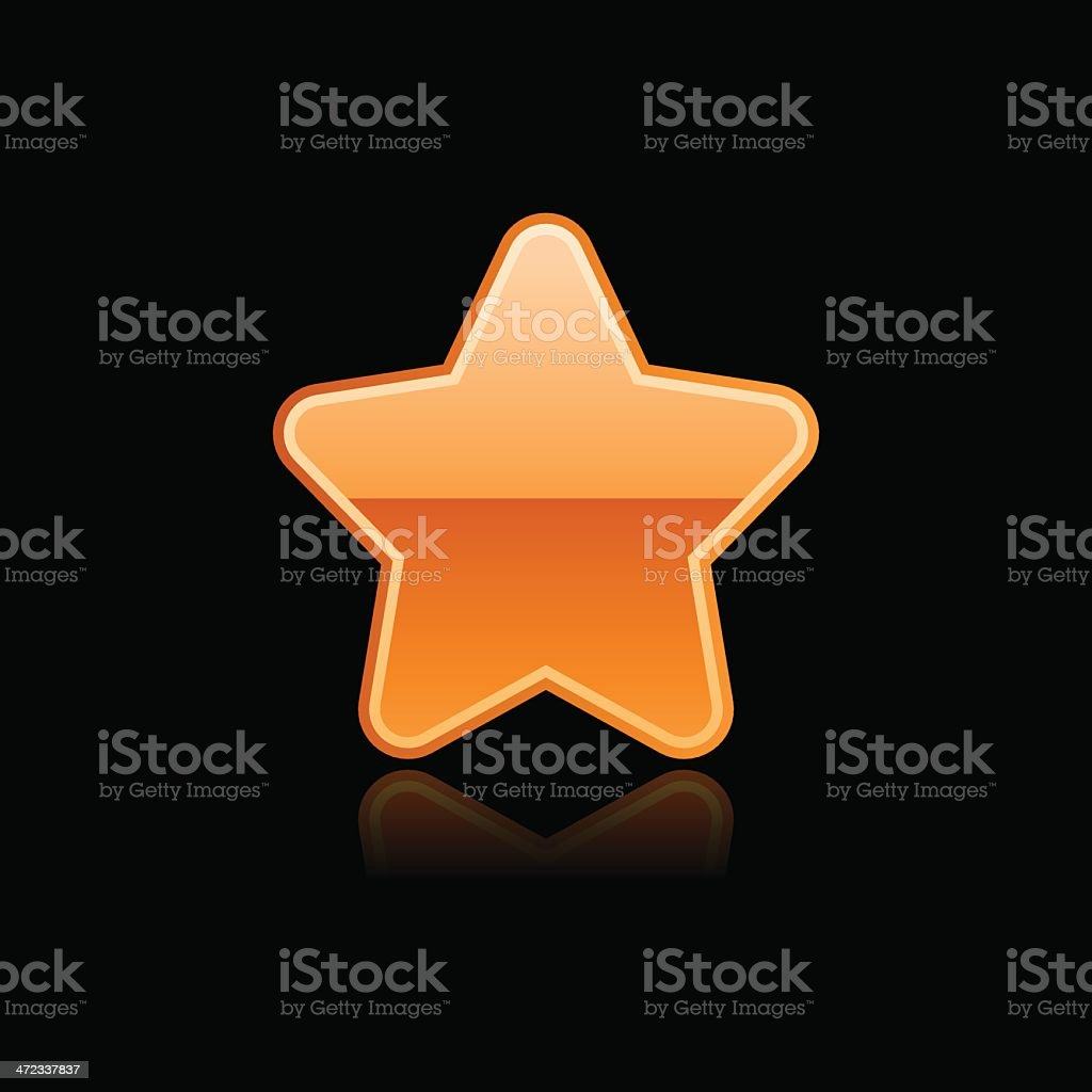 Orange star sign glossy icon chrome pictogram web internet button royalty-free stock vector art