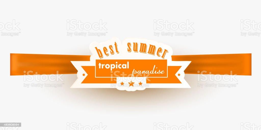 Orange summer banner on a silk ribbon white background vector art illustration