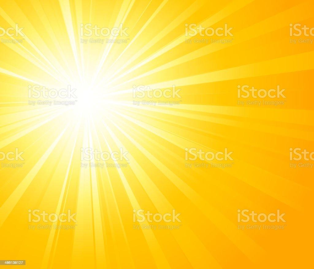Orange summer sun light burst vector art illustration
