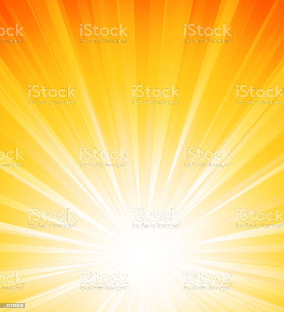 Orange summer sun light burst vector art illustration