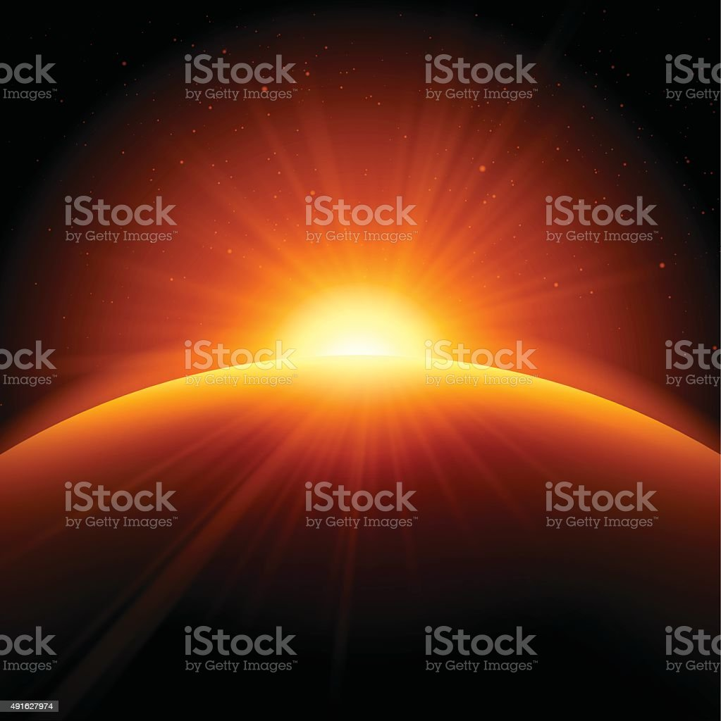 Orange Sunrise Sunset Abstract Background vector art illustration