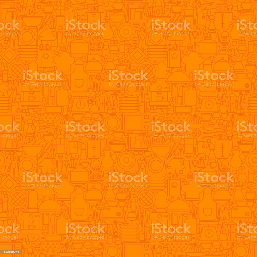 Orange Thin Line Kitchen Utensil and Cooking Seamless Pattern vector art illustration