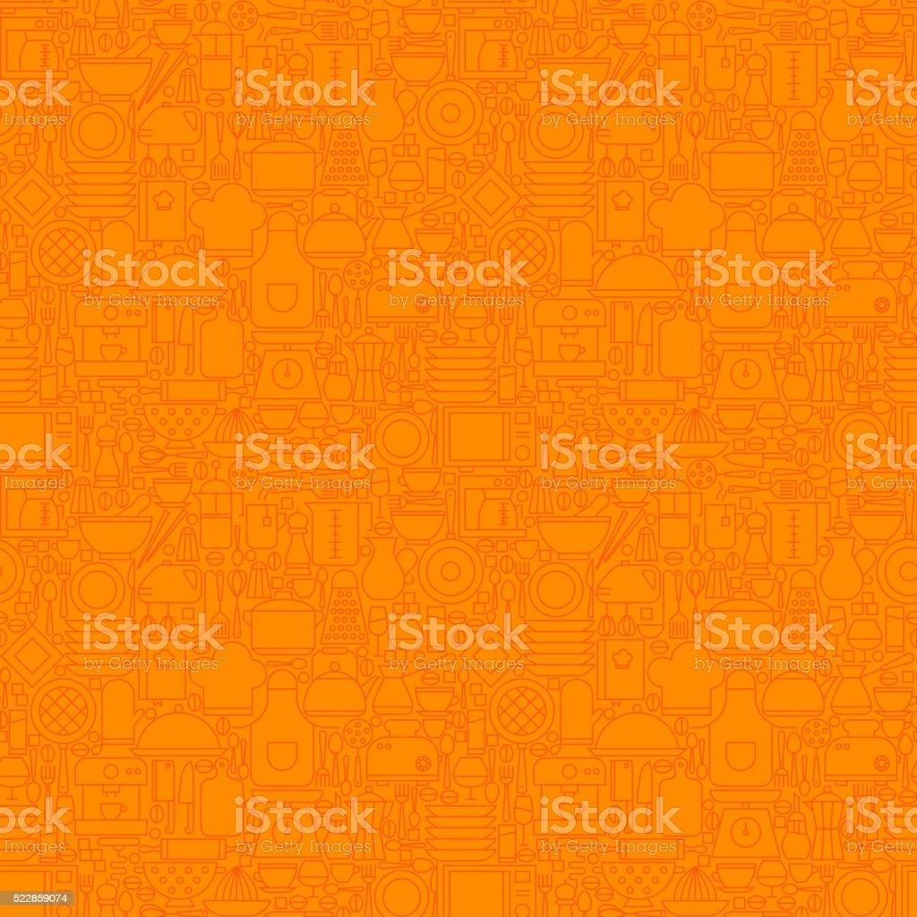 Orange Thin Line Kitchen Utensil and Cooking Seamless Pattern vector art illustration