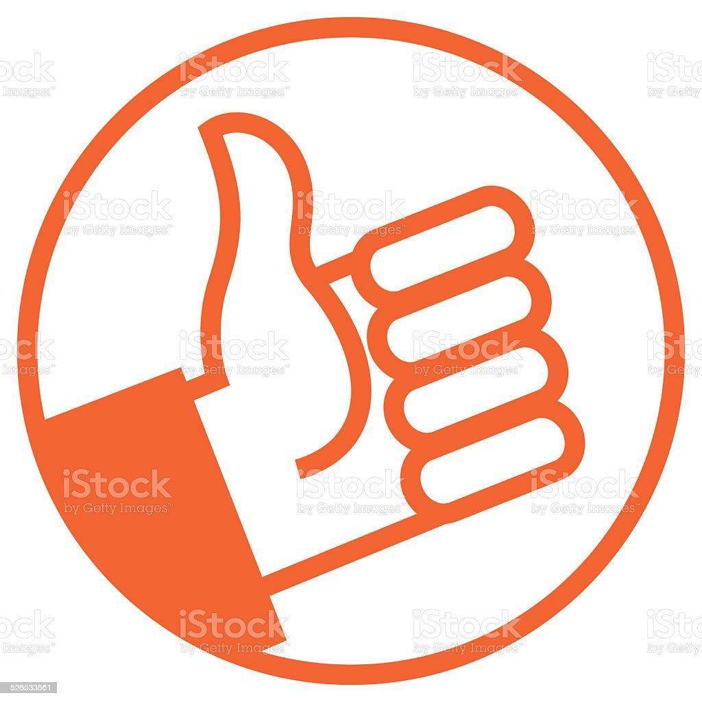 orange thumb vector art illustration