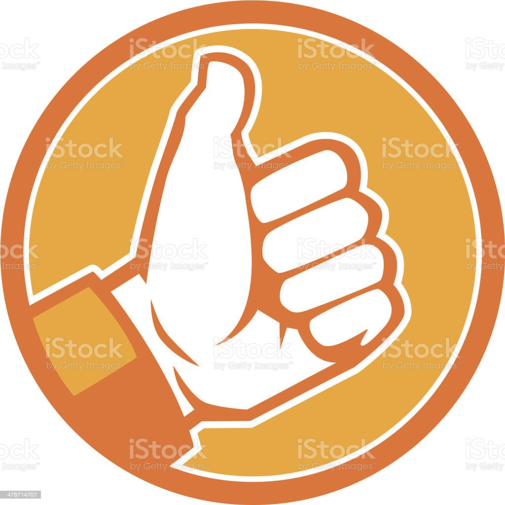 orange thumbs up icon vector art illustration