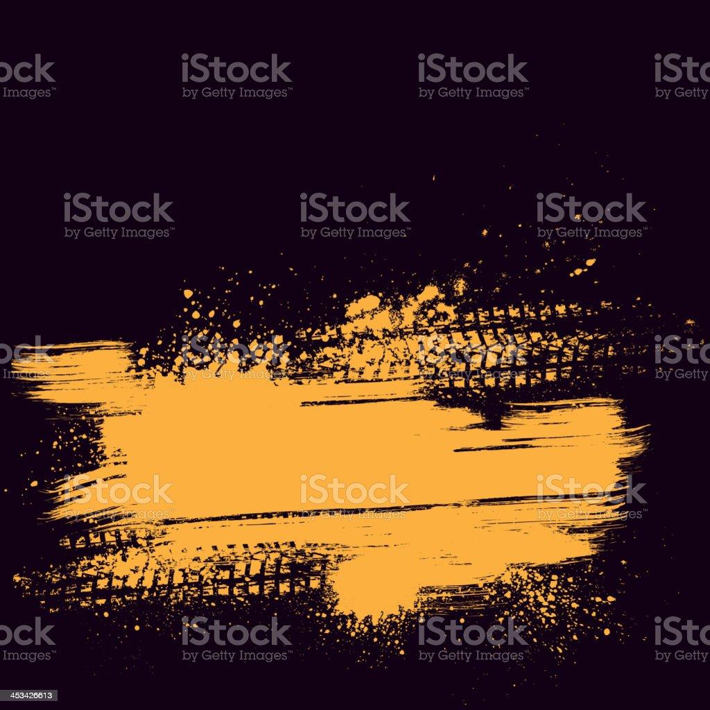 Orange tire track background vector art illustration