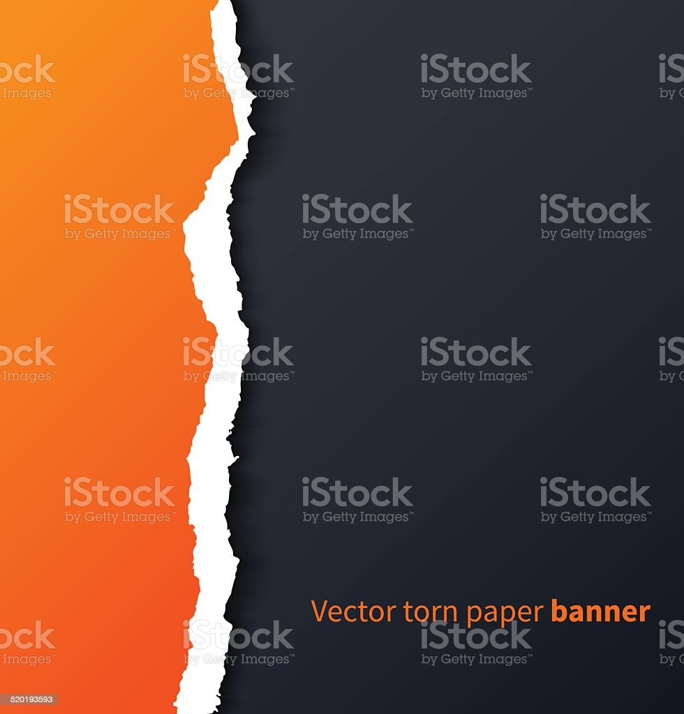 Orange torn paper with drop shadows on dark background vector art illustration