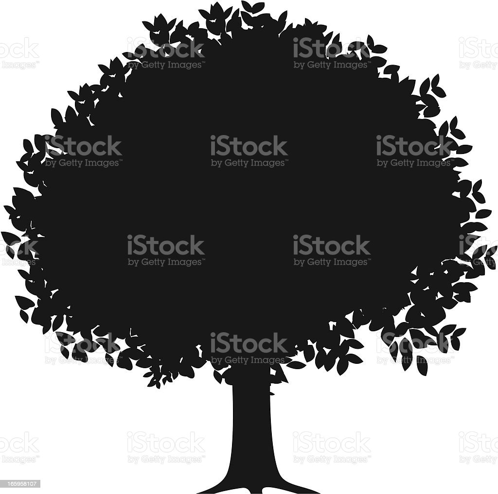 orange tree silhouette vector art illustration