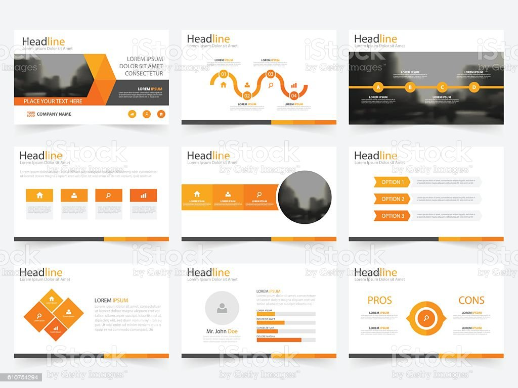 Orange triangle presentation templates Infographic elements template flat design set vector art illustration