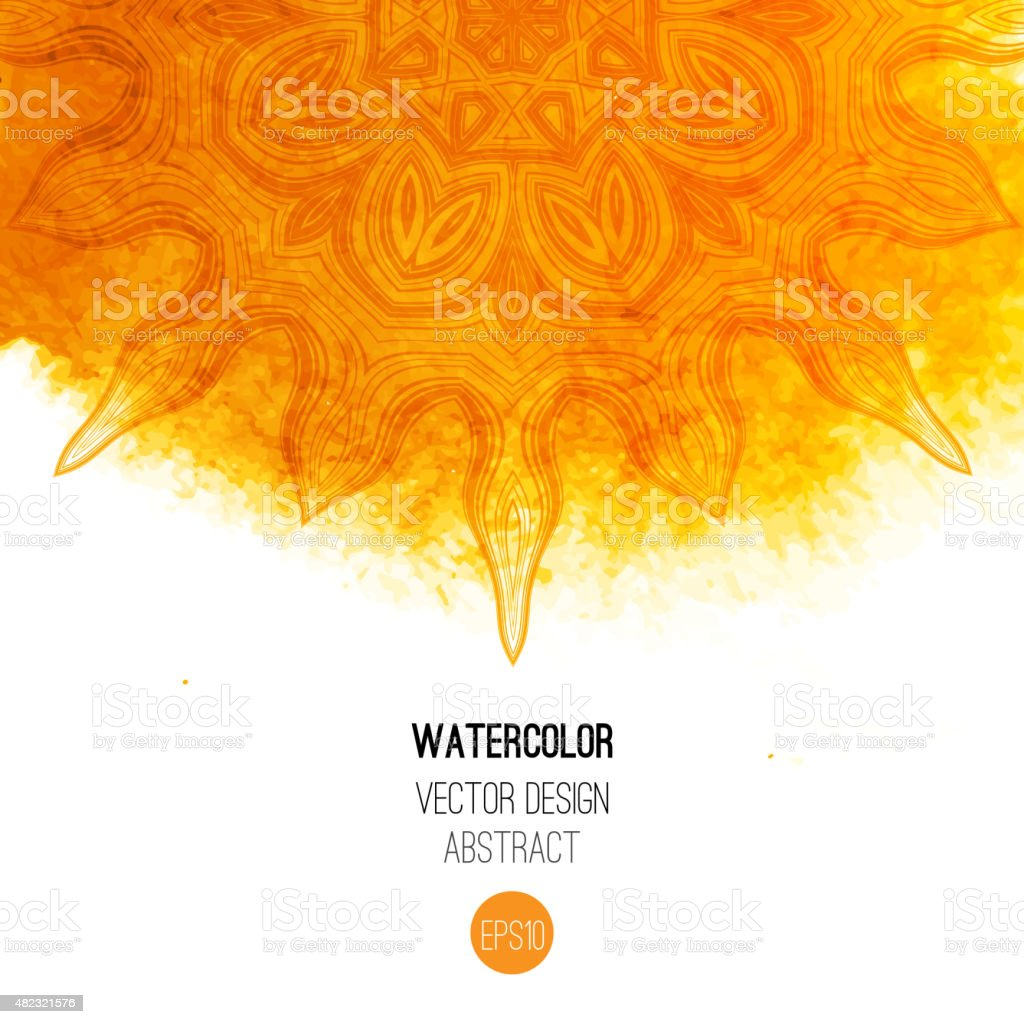 Orange watercolor brush wash with pattern - round doodle tribal vector art illustration