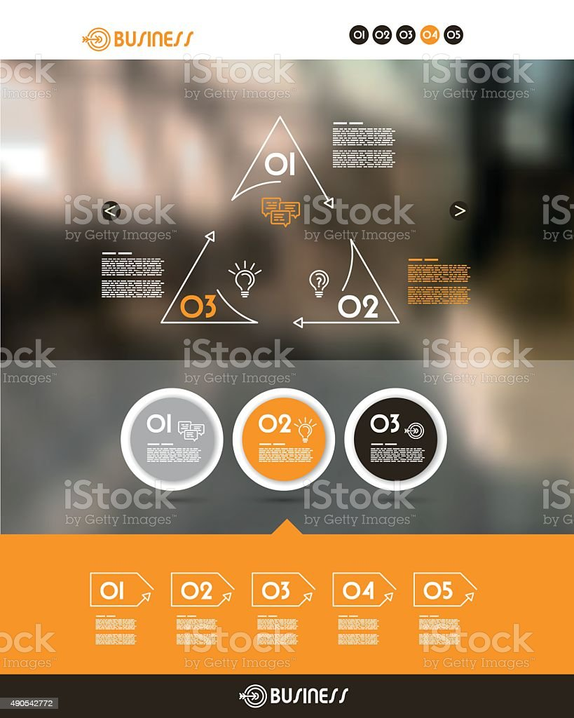 orange website template with three circles vector art illustration