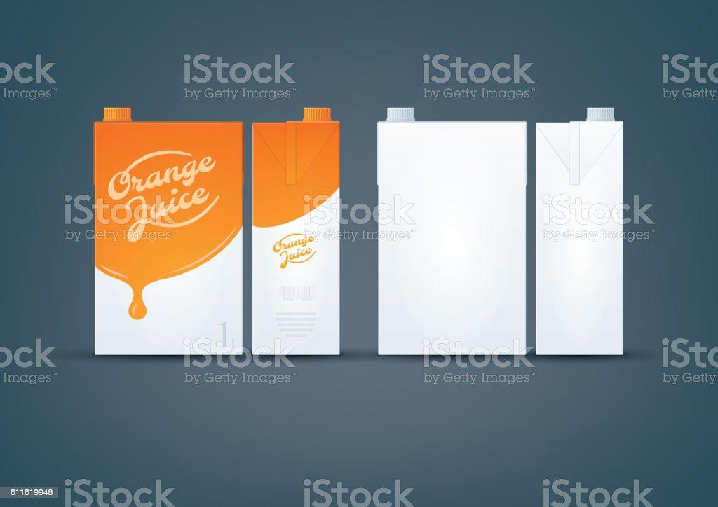Orange / White Carton box mock-up vector art illustration
