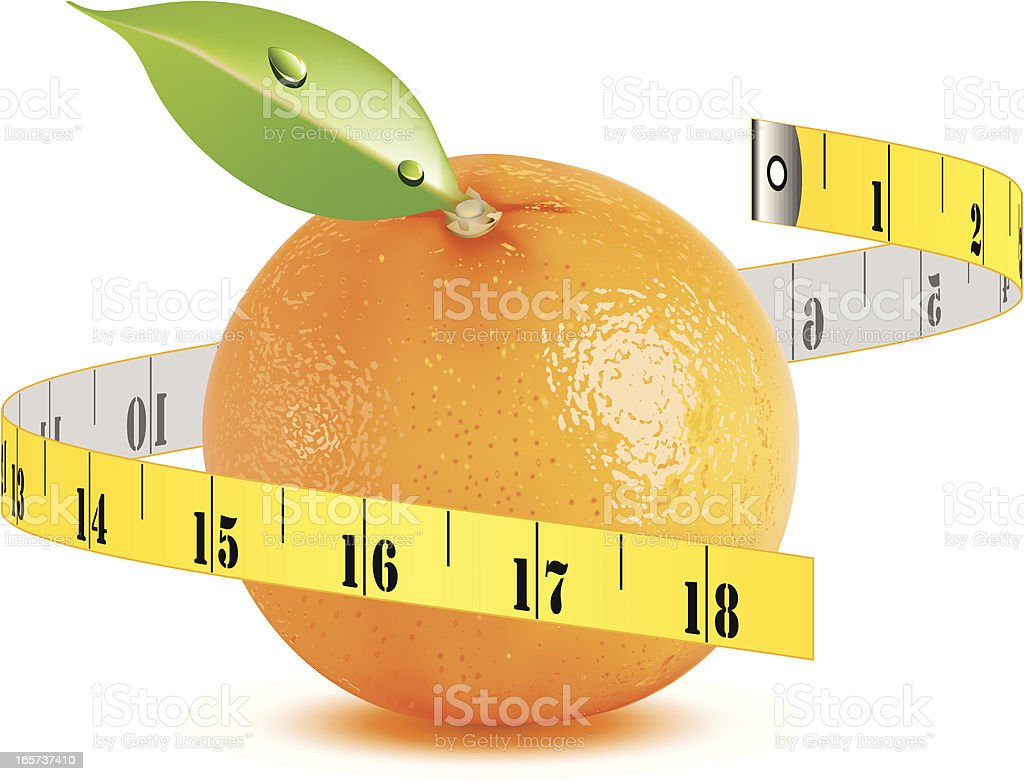 Orange with tape measure - VECTOR royalty-free stock vector art