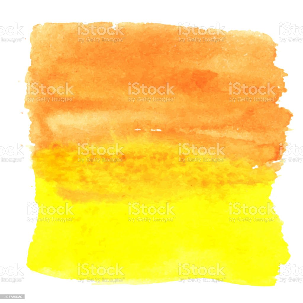 Orange yellow watercolour abstract square painting vector art illustration