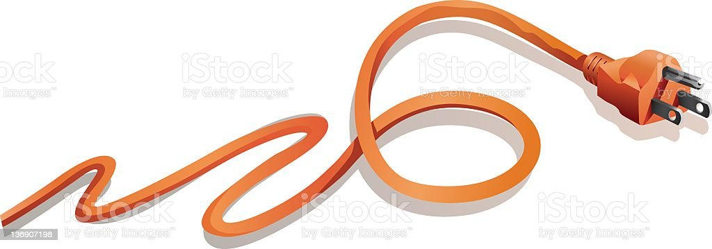 Orange Zig-zagging Electrical Plug and Cord Isolated on White royalty-free stock vector art